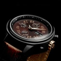 Black Gold Automatic Chronograph // Men's Chocolate Brown