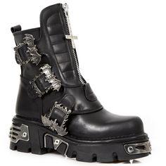 563 S1 Noir-New Rock Punk Gothique Bottes motardes-Unisexe NewRock M