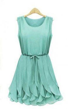 Falbala Pleating Hem O-neck Elastic Waist Sleeveless Dress
