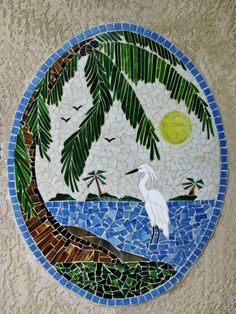 White Egret and Palm Tree Mosaic 33 Stained Glass Designs, Stained Glass Panels, Mosaic Designs, Stained Glass Patterns, Mosaic Patterns, Mosaic Tray, Mosaic Glass, Tropical Quilts, White Egret