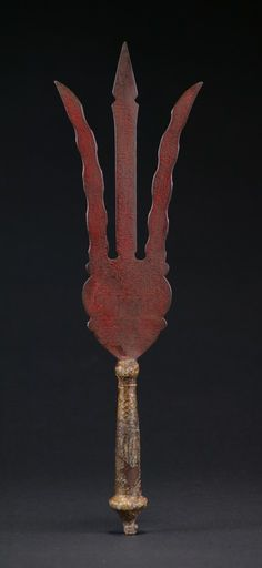 Unusual persian style trident scepter from Sudan. This type of talisman weapon was used in the Mahdist War of the late 19th century in Sudan