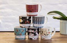 Virago Modern Classics mugs and notebooks. The range includes The Magic Toyshop mug, The Talented Mr Ripley mug and Excellent Women mug.