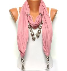 pink solid color heart jewelry scarf