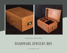 A pin showing a new design for a handmade jewelry box with a drawer. Solid Wood Furniture, Fine Furniture, Custom Furniture, Handmade Jewelry Box, Built In Cabinets, Home Office Furniture, Cabinet Design, Hope Chest, Design Projects