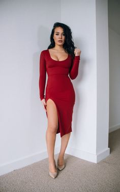 Holly Claret Red Long Sleeve Slit Leg Midi Dress - SilkFred