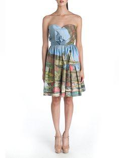 Boat Patchwork Organic Cotton Bustier Dress, $485