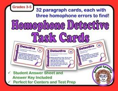 Homophone Task Cards - Each card features a paragraph with 3 homophone mistakes for students to find and correct! $