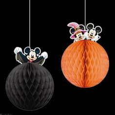 Set of 2 Halloween Disney Mickey Minnie Mouse Party Hanging Honeycomb Decorations from the UK.  Available on eBay.  I really like honeycomb Halloween decor, and these hang from the ceiling for added decorating style.  Must have! Mickey Mouse Halloween Theme Party & Decoration Ideas