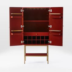 Downing Bar Cabinet - Paprika/Antique Brass | west elm