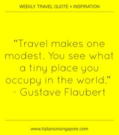 """""""Travel makes one modest.  You see what a tiny place you occupy in the world.""""  Gustave Flaubert  #expat"""