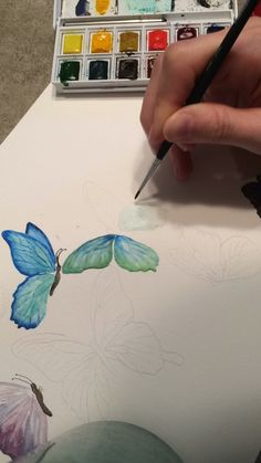 Watercolor video of blue butterflies Watercolor video of blue butterflies Blocker Fineart blockerfineart Coloring Designs Worked on this piece for a fundraiser Loved making this nbsp hellip Painting videos Watercolor Flowers Tutorial, Watercolor Video, Watercolor Painting Techniques, Watercolour Tutorials, Watercolor Paintings, Painting Videos, Tattoo Watercolor, Butterfly Drawing, Butterfly Painting