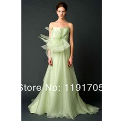 2014 New Hot selling handmade  modern A-line  floor length strapless green organza  wedding dress with bow  for brides $210.00