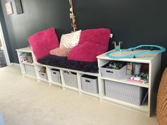With An Unused Wall In A Dining Area, Our Homeowner Wanted To Create A Play  And Storage Area For Her Children. Cushions And Pillows Made By Grandma And  Fun ...
