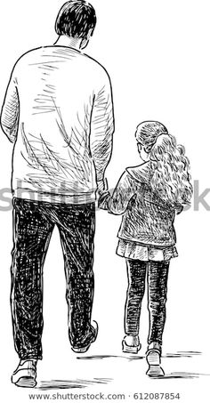 Find Father Daughter On Stroll stock images in HD and millions of other royalty-free stock photos, illustrations and vectors in the Shutterstock collection. Thousands of new, high-quality pictures added every day. Father's Day Drawings, Girl Drawing Sketches, Cute Easy Drawings, Girly Drawings, Art Drawings Sketches Simple, Pencil Art Drawings, Father Daughter Tattoos, Father Daughter Photos, Tattoos For Daughters