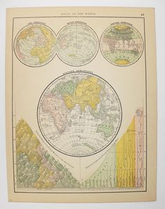 1887 Eastern Hemisphere Map, Antique World Map, Old World Decor, Wanderlust  Gift,