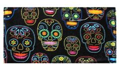 Day of the Dead Skeleton Fabric Checkbook by DesignsbyTerriLee