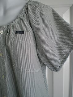 Peasant blouse upcycled from a man's shirt