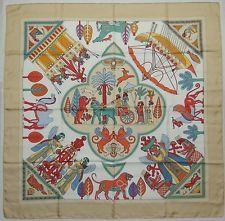 """Auth HERMES """"Persepolis"""" by Sophie Koechlin Beige Silk Scarf 5208"""