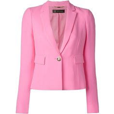 Versace Cropped Blazer (£1,130) ❤ liked on Polyvore featuring outerwear, jackets, blazers, blazer jacket, cropped blazer, pink silk jacket, long sleeve blazer and cropped blazer jacket