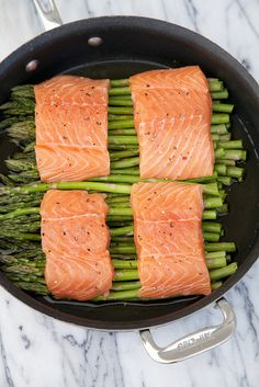 One Pot Wonder Blackberry Glazed Salmon and Asparagus - in 20 minutes or less!