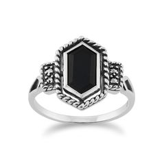 Show details for Sterling Silver 1.00ct Black Onyx & 4.8pt Marcasite Art Deco Style Ring
