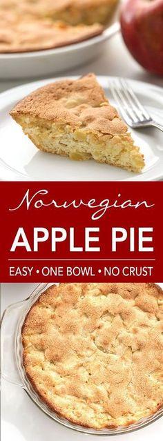 Norwegian Apple Pie is sweet and soft. Mix it in one bowl, no crust needed! simplehappyfoodie.com #applepie #norwegianapplepie