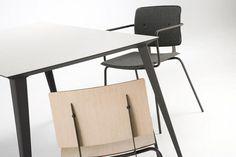 Ondarreta Contract - Mesas - Familia Don, estructura de acero y encimera de madera biselada con superficie porcelánica o vidrio