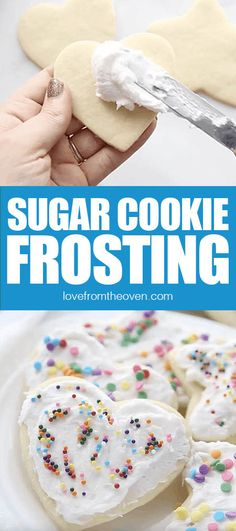 This easy sugar cookie frosting is perfect for frosting Christmas Cookies. Sugar Cookies Frosting Recipe, Easy Sugar Cookies, Frosting Recipes, Delicious Cookie Recipes, Dessert Recipes, Desserts, Oven Recipes, Baking Recipes, Cake Decorating