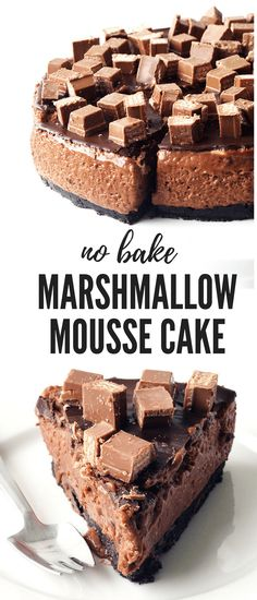 No Bake Chocolate Marshmallow Mousse Cake - Sweetest Menu - - No Bake Chocolate Marshmallow Mousse Cake with an Oreo cookie base, a layer of marshmallow chocolate mousse, chocolate ganache and Kit Kats! Baking Tins, Baking Recipes, Cake Recipes, Dessert Recipes, Cake Baking, No Bake Recipes, Chocolate Marshmallows, Chocolate Desserts, Chocolate Ganache