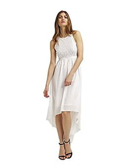 Anna Field Elegant White Asymmetric Maxi Summer Beach Sun-Dress for Women at Amazon Women's Clothing store:
