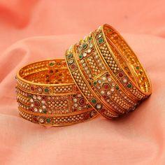 Gold Tone Indian Ethnic Green AD CZ Red Bollywood Bangles Bracelet Sizes 2-4/2-6 #DesaiJewellers #Bangle