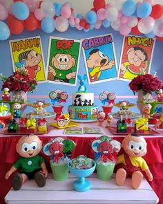 One of the coolest classes in the world is the theme chosen for many children's parties. Monica (and her inseparable Sansão), Cebolinha, Cascão, Magali Party Decoration, Birthday Decorations, It's Your Birthday, Happy Birthday, Candy Stand, Monster Inc Party, Fake Cake, Guest Gifts, Crepe Paper