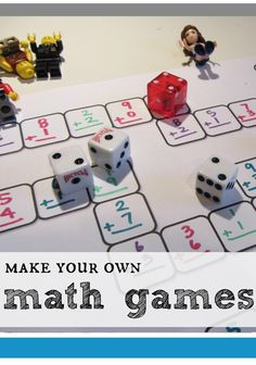 Math games 230528074662533129 - No matter what you need to practice, a make-your-own math game is the ticket to FUN practice! This will give you lots of ideas of how to make your own math games to solidify math concepts. Math Board Games, Math Boards, Math Games For Kids, Fun Math, Math Activities, Kids Math, Math Help, Listening Activities, Math Writing