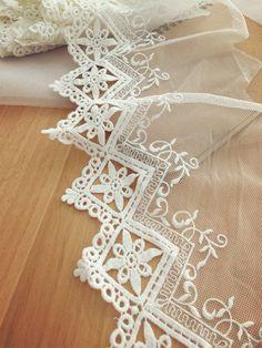 Ivory cotton lace trim crochet bridal veil lace trim by lacetime