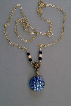 Czech Glass Button Pendant-Gold