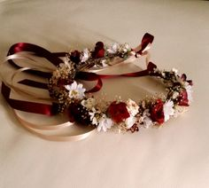 Marsala flower crown dried Floral hair wreath Rustic by AmoreBride