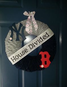 Cute wreath - football of course :). I need to make this for Dad the Giants fan and Son the Broncos fan :)