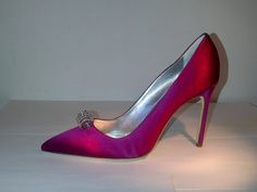 """SOLD!!! NEW! #ManoloBlahnik """"Stabi"""" Satin Pumps With Crystal Embellishment Size 41.5/U.S. 10.5. RETAIL: $755 OUR PRICE: $375"""
