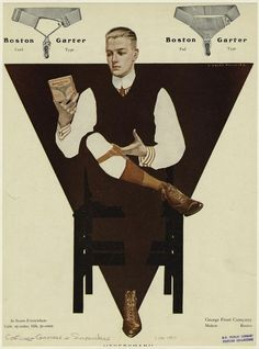 """Illustration by Clarence Coles Phillips – American artist, magazine and advertising illustrator closely associated with Life magazine. This image demonstrates his signature """"fadeaway"""" technique developed in Vintage Advertisements, Vintage Ads, Vintage Posters, Vintage Images, Vintage Style, Jc Leyendecker, Sock Suspenders, Pin Up, American Illustration"""