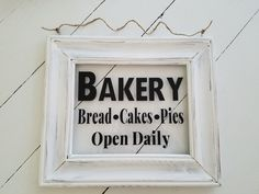 Rustic Bakery Picture Frame Sign. Rustic decor, bread sign, rustic kitchen sign, cake signs, pie sign, handmade bakery sign, baker gift by LoveTheJunk on Etsy