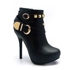 Women's Black Studded High Heel Platform Zip Up Bootie Ankle Boots