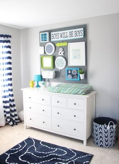 Peg Board Gallery Wall in Baby Nursery | This Is Our Bliss