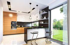 Projekt domu Parterowy- 118.23m2 - koszt budowy 184 tys. zł Deck Design, House Design, Planer, Townhouse, House Plans, Sweet Home, Kitchen Cabinets, Table, Furniture