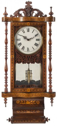 Marquetry inlaid wall clock, late 19th c.