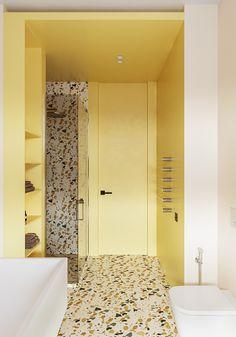 Who doesn't love Terrazzo Tile. Love the yellow paint in this bath. Mini Bad, Yellow Interior, Yellow Bathrooms, Terrazzo Flooring, Bathroom Colors, Bathroom Ideas, Bathroom Interior Design, Amazing Bathrooms, Bathroom Inspiration