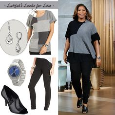 Matching a patchwork pullover with leggings and a peep toe bootie| My Look for Less: 10.13.14 | Queen Latifah