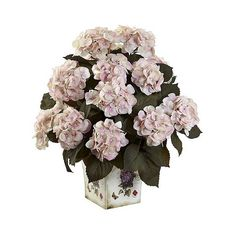 Nearly Natural Hydrangea with  Floral Planter, White ($80) ❤ liked on Polyvore featuring home, home decor, floral decor, white, faux florals, white blossom tree, artificial flowers and silk flowers