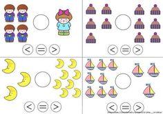 Færre end, lig med, flere end, Kids Math Worksheets, Kindergarten Math Activities, Homeschool Math, Teaching Math, Math Anchor Charts, Basic Math, Math Workshop, First Grade Math, Math For Kids