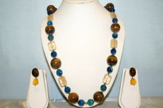 Single Line Semi-Precious Stone Necklace Made With Tiger Eye Rounds, Blue Onyx, Agate.