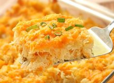 Ingredients: 2 lbs frozen hash browns 1/2 cup margarine or 1/2 cup butter, melted 1 (10 1/4 ounce) can cream of chicken soup 1 pint sour cream 1/2 cup onion, peeled and chopped 2 cups cheddar cheese, grated 1 teaspoon salt 1/4 teaspoon